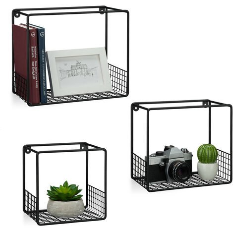 Mensole Cubo, Set 3 pz, Salotto, Struttura Griglia, Design Moderno, Scaffali Muro Metallo, P:15 cm, in nero