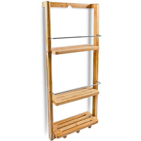 Mensole Doccia, Bambù, Marrone Chiaro con 3 ripiani e le seguenti misure H  x B x T: ca. 70 x 28,5 x 10 cm, ideale da appendere, con 3 ganci, in legno,  ...