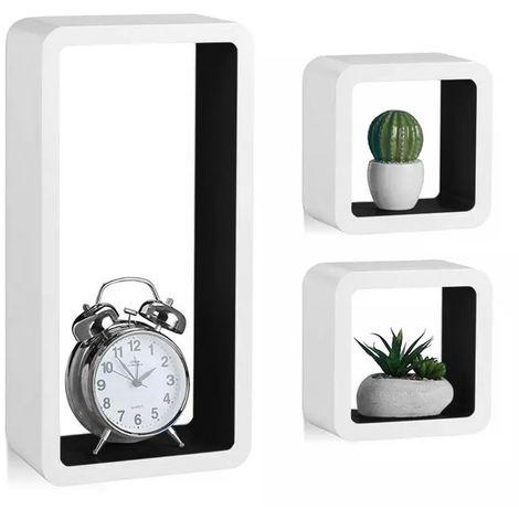 Mensole Parete Moderne Design Cubo Rettangolo Mensola Scaffale Legno Bianco Nero