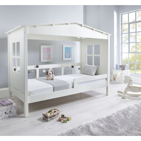 Mento Wooden Treehouse Bed White With Pocket Sprung Mattress
