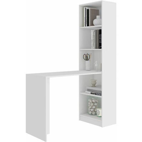 MERAK | Bureau réversible avec bibliothèque bureau salon | 125x180x50 cm | Meuble rangement gain de place | Bureau compacte | Blanc