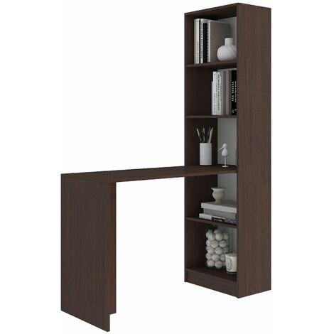 MERAK | Bureau réversible avec bibliothèque bureau/salon | 125x180x50 cm | Meuble rangement gain de place | Bureau compacte | Wenge