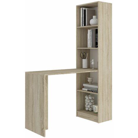 MERAK | Bureau réversible avec bibliothèque bureau salon | 125x180x50cm | Meuble rangement gain de place | Bureau compacte | Sonoma