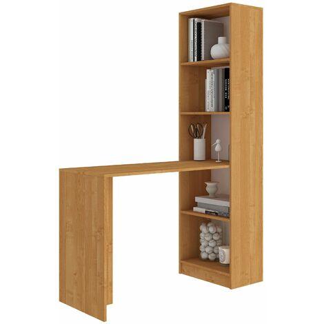 MERAK | Bureau réversible + bibliothèque bureau salon | 125x180x50 cm | Meuble rangement gain de place | Bureau compacte | Aulne