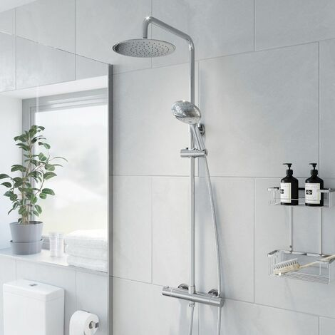 Merano Thermostatic Twin Head Mixer Shower Set Round Bar Chrome Exposed Valve