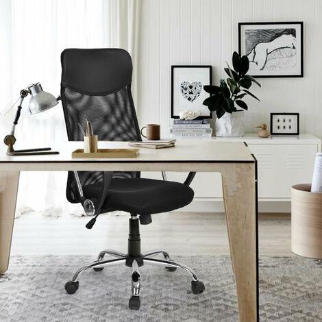 Merax office chair desk chair office swivel chair ergonomic design executive chair with headrest, mesh back / rocker function / fixed armrest / height adjustable B2B00873_DE