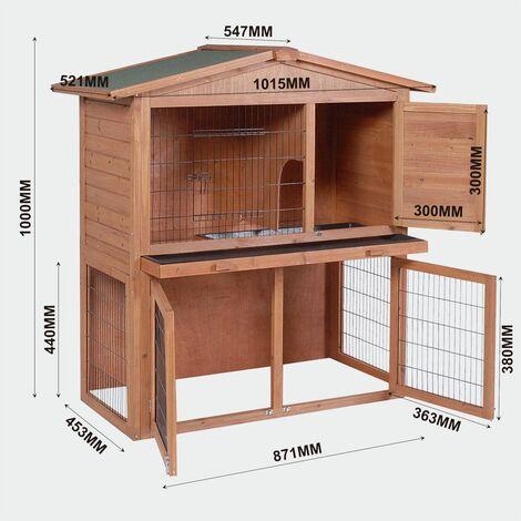 MercartoXL 2 étages Clapier Poulailler petite maison de lapin maison animale
