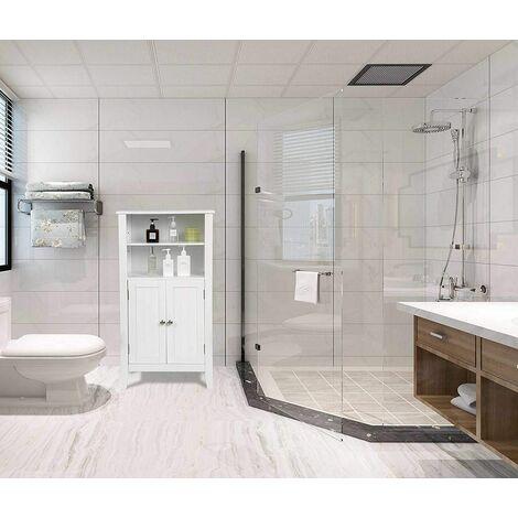 MercartoXL Armoire de toilette blanche avec quatre étagères en bois Lena
