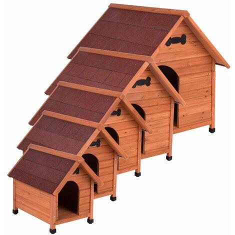 MercartoXL Chenil chien chiens domestiques réel en bois massif MADRID S Weatherproof: W 54 x P 77 x 67 cm H