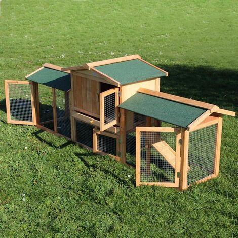 MercartoXL Clapier Poulailler cage XXL lapin roue libre cage à lapins