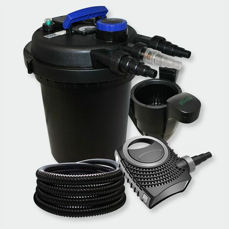MercartoXL Filtre à pression Set 6000l 11W UVC filtre de bassin tuyau skimmer pompe de bassin