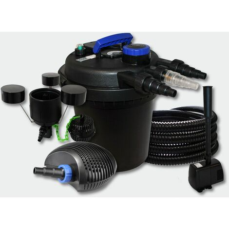 MercartoXL Filtre bassin pression 10m³ 11W UVC, tuyau de pompe 40W fontaines Skimmer