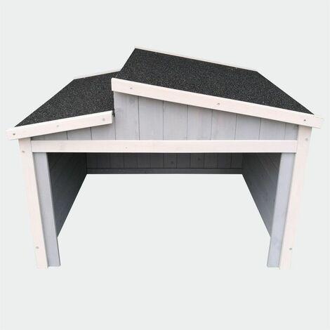 MercartoXL garage pivotant avec toit en pente tondeuse à gazon Gris