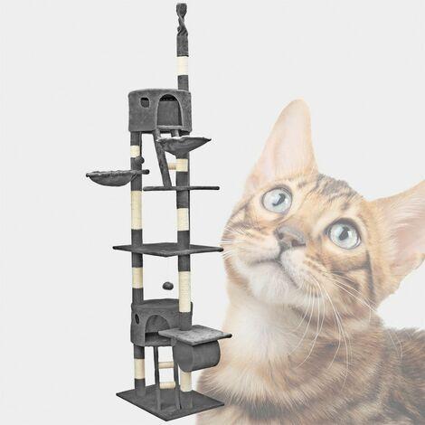 MercartoXL gris et grottes avec des hamacs chat gratter poste griffoir