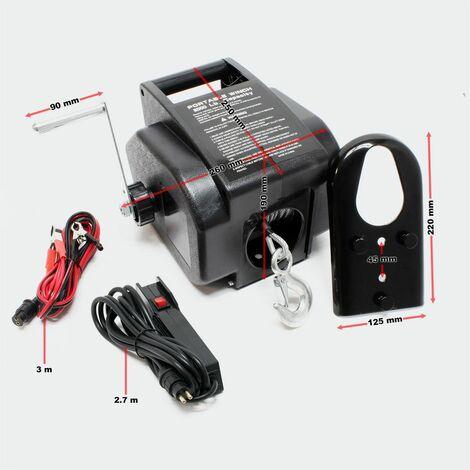MercartoXL Radio treuil moteur treuil électrique 12V tension du câble en acier jusqu'à 2267 kg