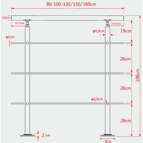MercartoXL Rampe d'escalier en acier inoxydable 3 barres transversales 120cm parapet mains courantes garde-corps