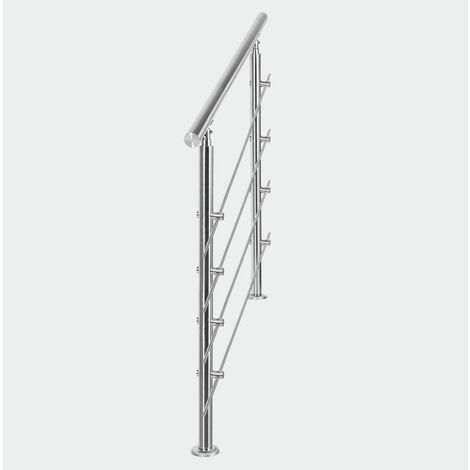 MercartoXL Rampe d'escalier en acier inoxydable 4 traverses 120cm parapet garde-corps garde-corps