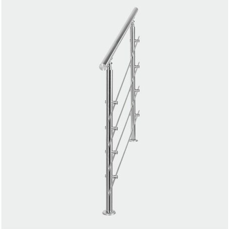 MercartoXL Rampe d'escalier en acier inoxydable 4 traverses 180cm parapet garde-corps garde-corps