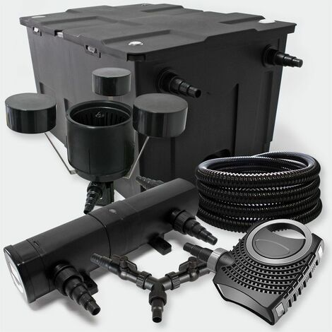 MercartoXL SunSun Jeu de filtres de 18W UVC NEO8000 70W ECO 25m Tuyau Skimmer