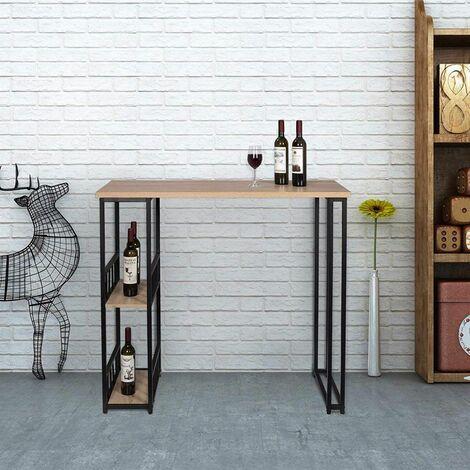 MercartoXL Table de bar avec deux étagères de structure métallique et MDF lumière chêne