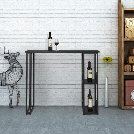 MercartoXL Table de bar avec deux étagères de structure métallique et noir MDF