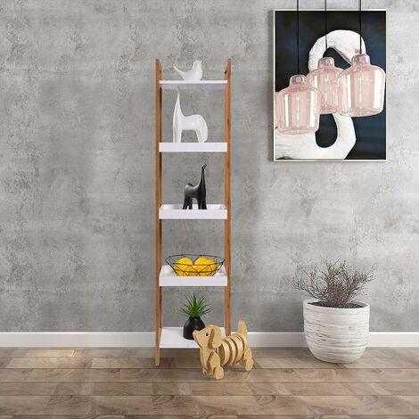 MercatoXL étagères debout 5 bac de bambou en blanc