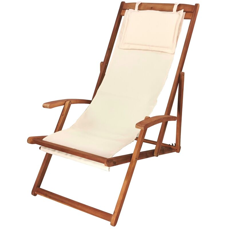 Garden Lounger Crème, Lounger de Relax, Lounger Sun Sun, Teckchair - Mercatoxl