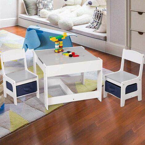 """main image of """"MercatoXL tavolo per bambini con 2 sedie divano grigio con spazio di archiviazione per i bambini"""""""
