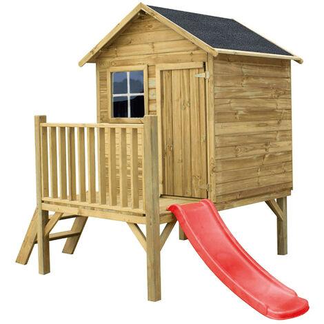 """main image of """"MERIDA - casetta in legno per bambini con scivolo"""""""