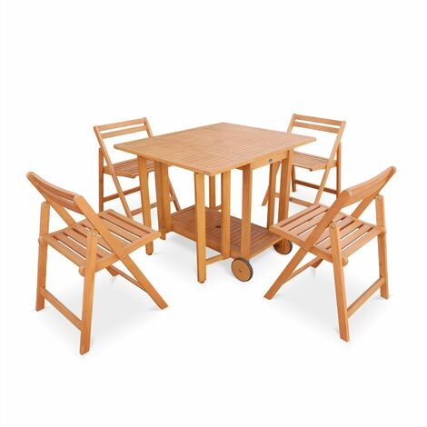 Merida foldable wooden garden furniture, drop-leaf rectangular table 100x82cm with 4 foldable chairs