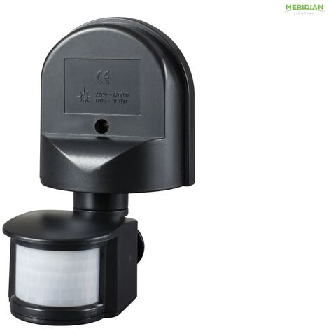 Meridian Lighting Wall Mounted PIR Motion Detector Black