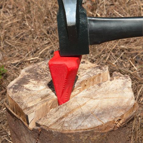 Merlin coin fendeur eclateur pour buche bois en métal couleur rouge 17 cm