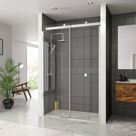 Merlyn 10 Series Sliding Shower Door 1400mm Wide Left Handed - Clear Glass