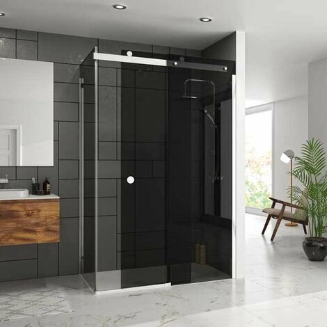 Merlyn 10 Series Sliding Shower Door 1400mm Wide Right Handed - Smoked Black Glass