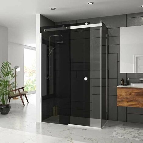 Merlyn 10 Series Sliding Shower Door with Tray 1200mm Wide Left Handed - Smoked Black Glass
