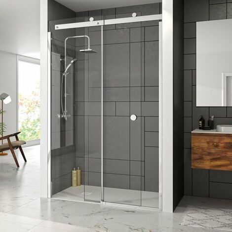 Merlyn 10 Series Sliding Shower Door with Tray 1400mm Wide Left Handed - Clear Glass
