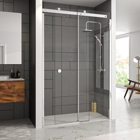 Merlyn 10 Series Sliding Shower Door with Tray 1600mm Wide Right Handed - Clear Glass