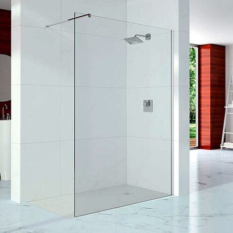 Merlyn 10 Series Wet Room Glass Panel with Wall Profile and Stabilising Bar - 1100mm Wide - 10mm Glass