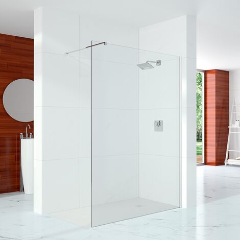 Merlyn 10 Series Wet Room Glass Panel with Wall Profile and Stabilising Bar 300mm Wide - 10mm Glass