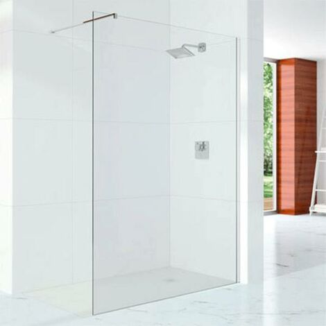 Merlyn 10 Series Wet Room Glass Panel with Wall Profile and Stabilising Bar 700mm Wide - 10mm Glass