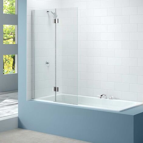 Merlyn 2-Panel Hinged Bath Screen, 1500mm High x 900mm Wide, Left Handed - Clear Glass