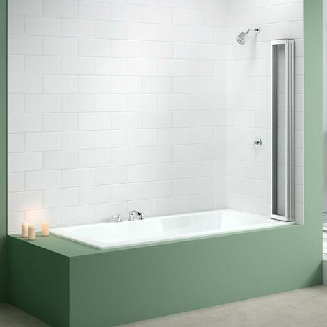 Merlyn 4-Fold Bath Screen, 1400mm High x 850mm Wide, Clear Glass