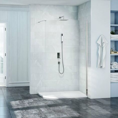 Merlyn 8 Series Curved Wet Room Glass with MStone Tray 1200mm x 900mm Wide LH - 8mm Glass