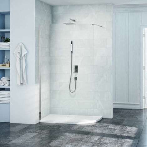 Merlyn 8 Series Curved Wet Room Glass with MStone Tray 1200mm x 900mm Wide RH - 8mm Glass