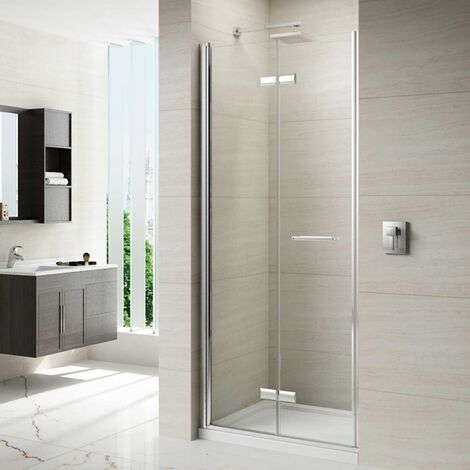 Merlyn 8 Series Frameless Hinged Bi-Fold Shower Door with Mstone Tray 760mm Wide 8mm Glass