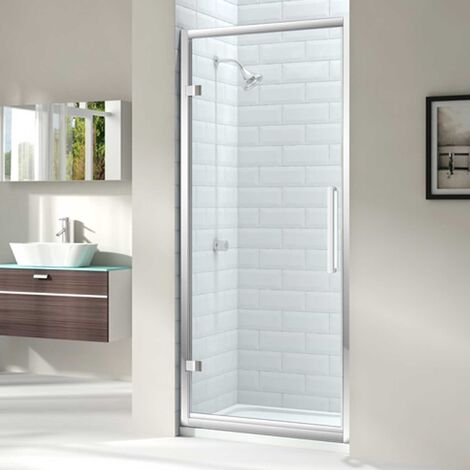 Merlyn 8 Series Hinged Shower Door with Tray 900mm Wide - Clear Glass
