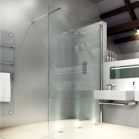 Merlyn 8 Series Wet Room Glass Panel with Tray, 800mm Wide, Clear Glass