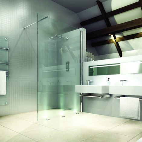 Merlyn 8 Series Wet Room Glass Panel with Tray, 900mm Wide, Clear Glass