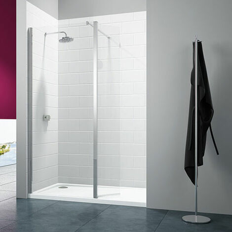 Merlyn 8 Series Wet Room Panel with Swivel Return, 800mm Wide, Clear Glass