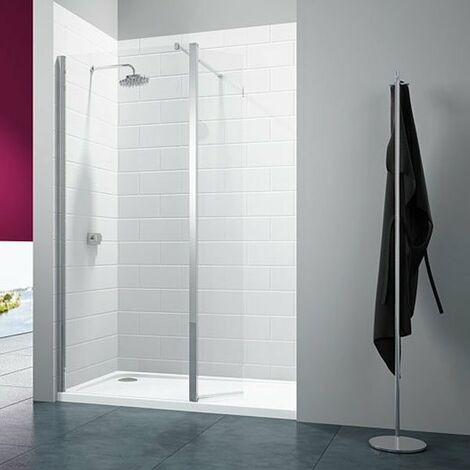 Merlyn 8 Series Wet Room Panel with Swivel Return, 900mm Wide, Clear Glass